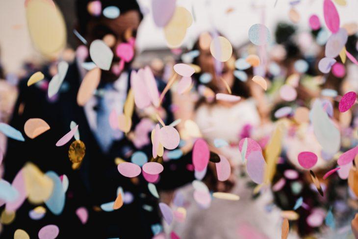 multi coloured confetti
